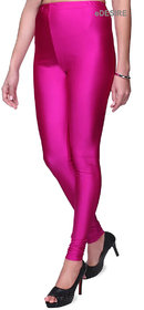 eDESIRE Shimmer Shining Leggings Casual Skinny Leggings Fashion Pants for Girls Women, Rose Pink(Free Size Upto 36 Inch)