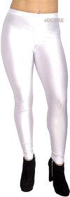 eDESIRE Shimmer Shining Leggings Casual Skinny Leggings Fashion Pants Pencil Legging for Girls Women, White (Free Size)
