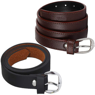 Sunshopping Women's Brown and Black Formal Leatherite belt (Combo)