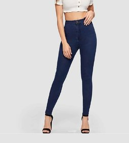 Malachi Women's Dark Blue Denim Lycra High Waist Skinny Fit Jeans With Stretch