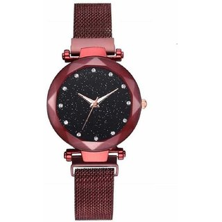HRV Sparkling Diamond RedMagnetic Strap Luxury Analog Watch For Girls