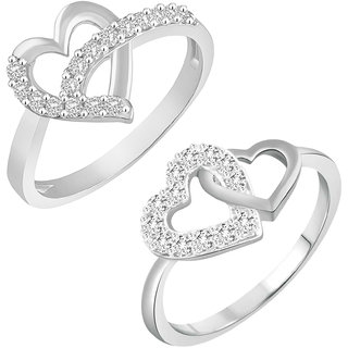 VIRINA Heart Solitaire Combo Ring for Women and Girls