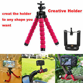 Tech Gear Phone and Camera Tripod Mini Octopus Tripod Flexible, Mini Padded Adjustable Mount and Adjustable Holder Tripod, Red