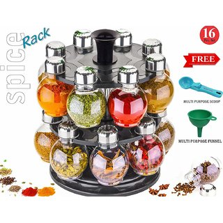 DarkPyro Designer Multipurpose Jumbo Revolving Plastic Spice Rack 16 Piece Condiment Set Masala Rack revolving Spice Rac