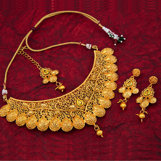 Sukkhi Alloy Traditional Gold Plated Kundan Choker 16 Gold Necklace Set For Women