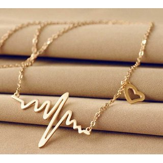 Sukkhi Classy Gold Plated Heart Beat Necklace For Women