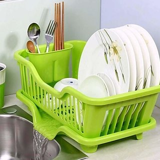 Kitchen Drainer wash Tray Sink Dish Drainer Drying Rack Washing Basket with Removable Tray