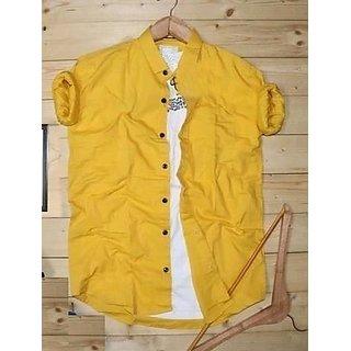 Spain Style Plain Regular Fit Yellow Casual Men's Shirt