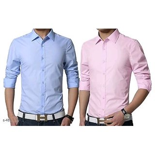 Spain Style Plain Casual Shirts for Men Combo of 2