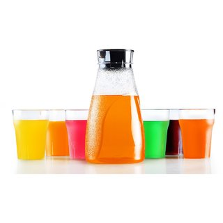 Juicy jug Matt with 6 pcs Glas Jug Glass Set  Plastic