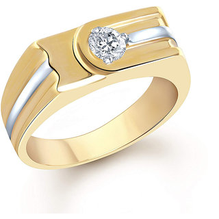 Netra creation Single Solitaire Gold Plated Alloy  Brass Cubic Zirconia Finger Ring for Men NFR295G