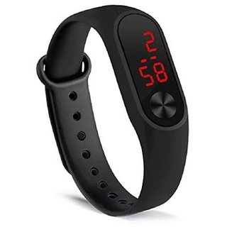 HRV M2 Unisex Black Rectangle Pu Stylish Band Digital Watch