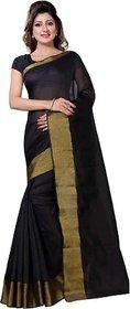 Sharda Creation Black Art Silk Plain With Blouse Saree