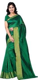 Sharda Creation Green Art Silk Plain With Blouse Saree
