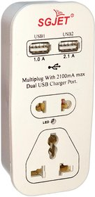 SGJET Dual USB 2.1 A with 2 Sockets Travel  Multi Plug