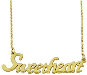 Men Style Valentine Gift Sweetheart Letter Gold Stainless Steel Necklace Pendant