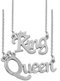 Men Style Valentine Gift Couple King Queen Letter Silver Stainless Steel Necklace Pendant