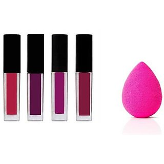 Trendy Trotters Combo Of Red Edition Liquid Matte Waterproof Minis Lipstick+ Puff ( 1/ 4+ Puff )