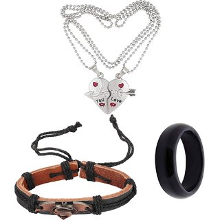 Valentines Day Special Combo of Heart Pendant/Necklace Chain for HER/ Bracelet and Ring Band for HIM/ Gift Combo.