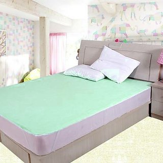 Very Economical Single Bed WaterProof BedSheet With Elastic Strap- Green
