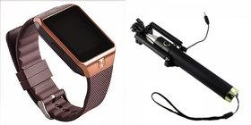 Mirza DZ09 Smart Watch and Selfie Stick for LG G PRO LITE(DZ09 Smart Watch With 4G Sim Card, Memory Card Selfie Stick)