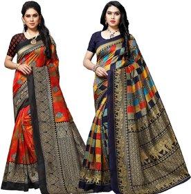 Anand Sarees MultiColor Bhagalpuri Silk (Lichi) Printed work Pack Of 2 Sarees (1584_2_1550_3)