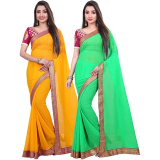 Anand Sarees Chiffon Solid MultiColor Pack Of 2 Sarees (1467_2_1467_3)