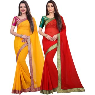 Anand Sarees Chiffon Solid MultiColor Pack Of 2 Sarees (1467_2_1468_1)
