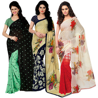 Anand Sarees MultiColor Georgette Printed work Pack Of 3 Sarees (1080_1262_2_2942_1)
