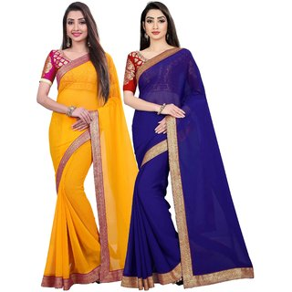 Anand Sarees Chiffon Solid MultiColor Pack Of 2 Sarees (1467_2_1470_1)