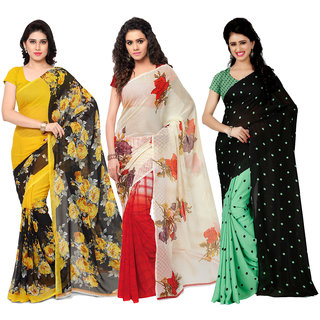 Anand Sarees MultiColor Georgette Printed work Pack Of 3 Sarees (1080_1152_2_1262_2)