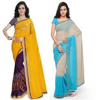 Anand Sarees MultiColor Georgette Printed work Pack Of 2 Sarees (1190_2_1194_2)