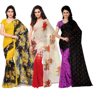 Anand Sarees MultiColor Georgette Printed work Pack Of 3 Sarees (1080_1152_2_1262_4)