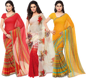 Anand Sarees MultiColor Georgette Printed work Pack Of 3 Sarees (1080_1164_1_1164_2)
