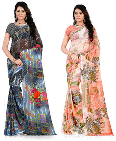 Pack Of 2 Printed Multicolor Georgette Saree With Blouse by Anand Sarees