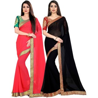 Anand Sarees Chiffon Solid MultiColor Pack Of 2 Sarees (1468_5_1470_3)