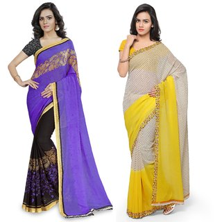 Anand Sarees MultiColor Georgette Printed work Pack Of 2 Sarees (1190_4_1194_4)