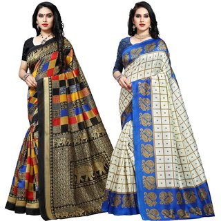Anand Sarees MultiColor Bhagalpuri Silk (Lichi) Printed work Pack Of 2 Sarees (1550_1_1577_1)