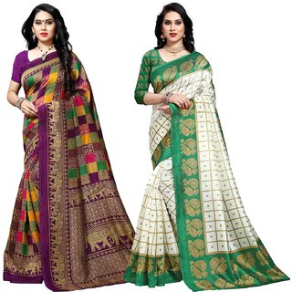 Anand Sarees MultiColor Bhagalpuri Silk (Lichi) Printed work Pack Of 2 Sarees (1550_4_1577_4)