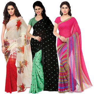 Anand Sarees MultiColor Georgette Printed work Pack Of 3 Sarees (1080_1164_3_1262_2)