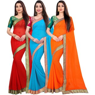 Anand Sarees Chiffon Solid MultiColor Pack Of 3 Sarees (1467_4_1468_1_1468_4)
