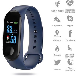 Tech Gear Sports Watch M3 Smart Band Waterproof Heart Rate Monitor Fitness Tracker M3 Band Bracelet Wristband, Blue