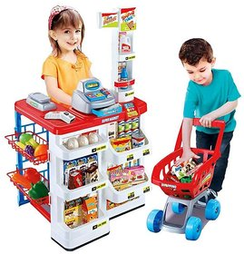 Big Size Supermarket kit for Kids Toys with Shopping Cart and Sound Effects  Kitchen Set Kids Toys for Boys and Girls
