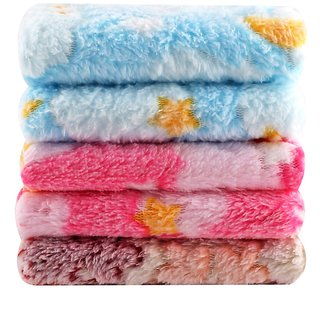 Pack Of 5 Zeeko bander Multicolor Solid Cotton Face Towels(25 Cm X 25 Cm)