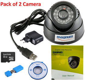 24 IR Night Vision Dome CCTV Camera (USB Interface) Inbuilt DVR With Memory Card Slot Recording (32GB SANDISK Memory Card included) - Pack of 2