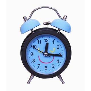 Flagsquare Twin Bell Smiley Face Alarm Clock (Blue)