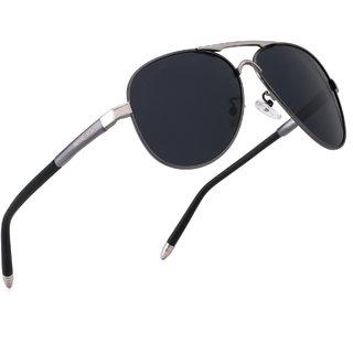 ROYAL SON HD Vision Polarized Classic Retro Aviator Mens Unisex Sunglasses -Black