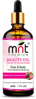 MNT Beauty Oil Kumkumadi with Pure Sandal  Rose Oil (30ml) For Brightens dull skin  Reduce dark Spots