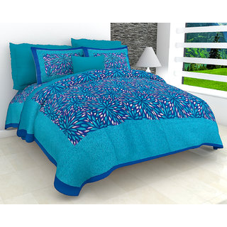 FrionKandy Pure Cotton Blue Sanganeri Floral Print Double Bed Sheet With 2 Pillow Covers - SHKAP1089