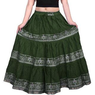FrionKandy Women's Rayon Green Gold Print Skirt Free Size  (Length-38, Waist upto-46)